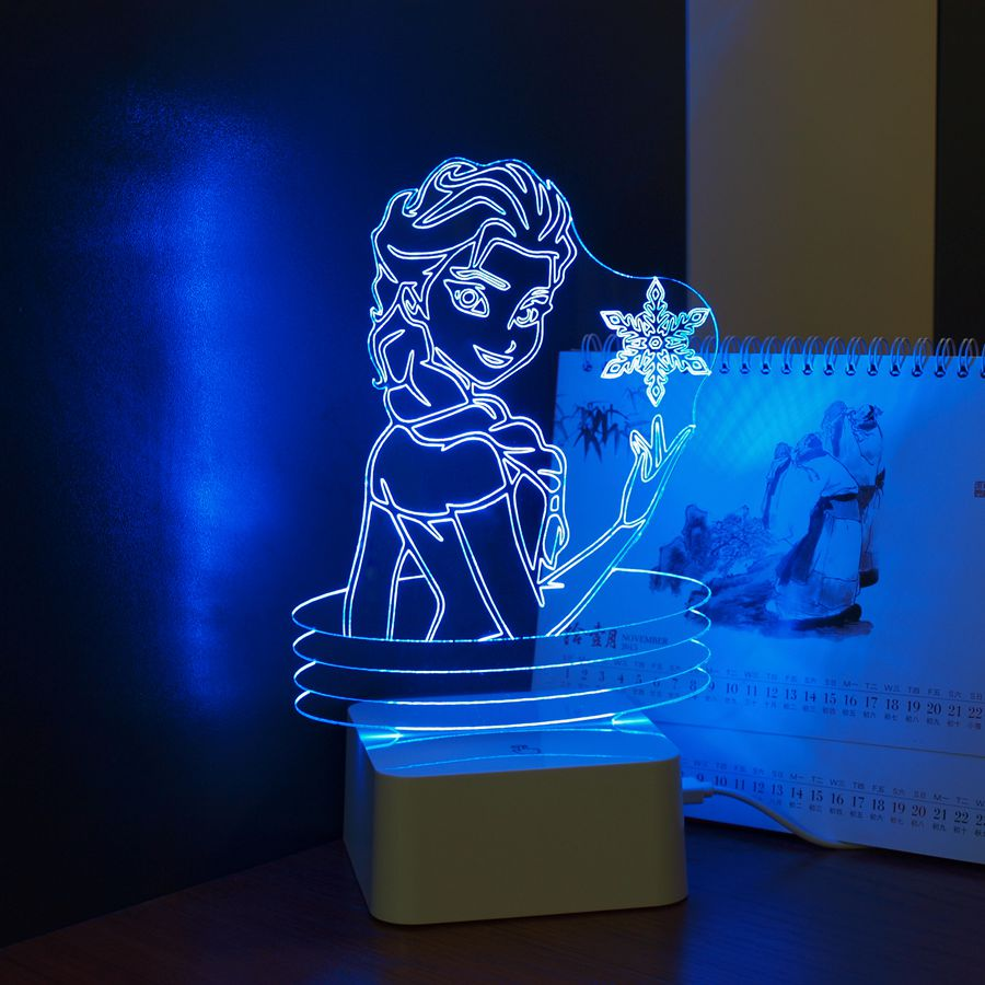 CNHIDEE USB Novelty KIDS Lovely 3D Lamp Besides Lights Elsa ANNA LED Nightlight Table Lampara with