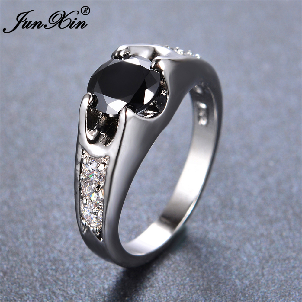 Junxin male female black ring white gold filled vintage for Wedding rings for male and female