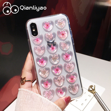Qianliyao Vintage 3D Heart Real flowers Phone Case for iphone X XS Max XR Soft TPU 6 6s 7 8 Plus  capa