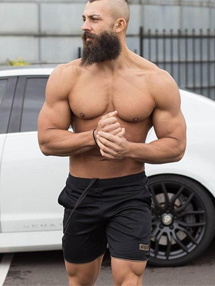 GYMOHYEAH Mens Shorts Calf Length Fitness Bodybuilding Fashion Casual Gyms Joggers Workout Brand Short Pants Sweatpants