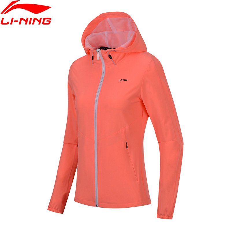 Li-Ning 2018 Women Training Series Windbreaker Slim Fit Jacket 86% Polyester 14% Spandex Li Ning Comfortable Sports Coat AFDN022