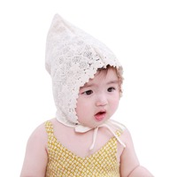Summer Sweet Hollow Infant Baby Hat Soft Cotton Girls Lace-up Beanie Cap