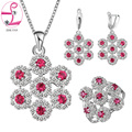 ZHE FAN Fashion Red Green Blue Flower Jewelry Sets Women AAA Cubic Zirconia Luxury Necklace Earring Ring Chain Jewellery Set