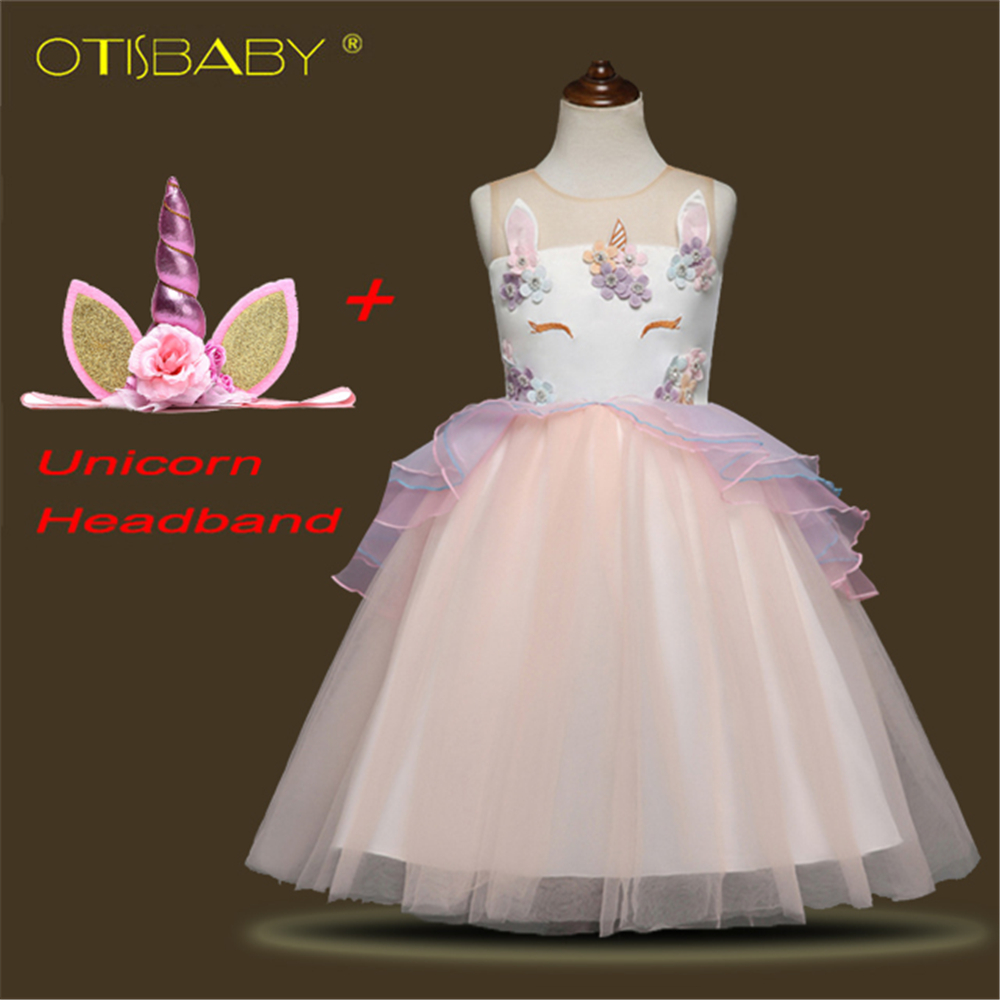 Girls Unicorn Dress Embroidery Beading Gauze Princess Dress Unicorn Headband for Girls Kids Floral Tutu Dresses Horse Clothes