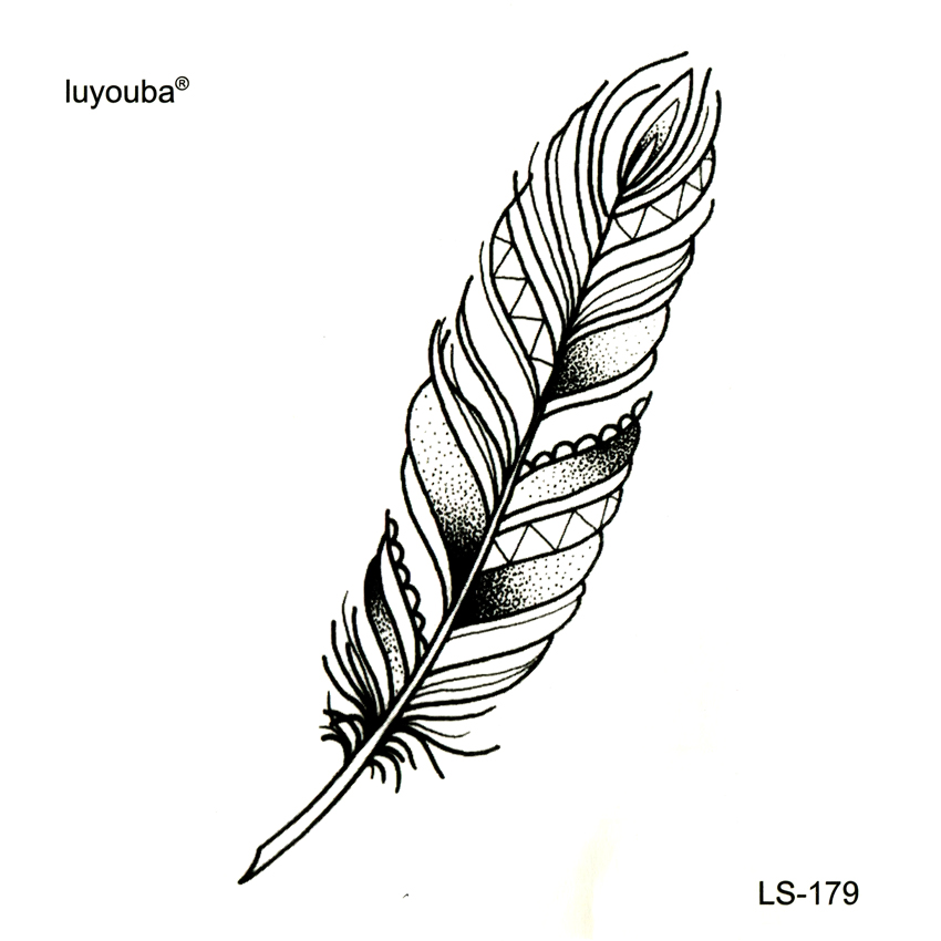 Classic Black Feather Tatoo Fake Tattoo Tatuajes Tatuagem Body Art Waterproof Temporary Tattoo Sticker Small Taty For Woman