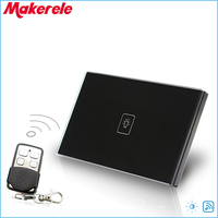 Remote Dimmer Switch US Standard Controller Dimmer Touch Sensor Switch 1 Gang 1 way Black Glass Panel+LED
