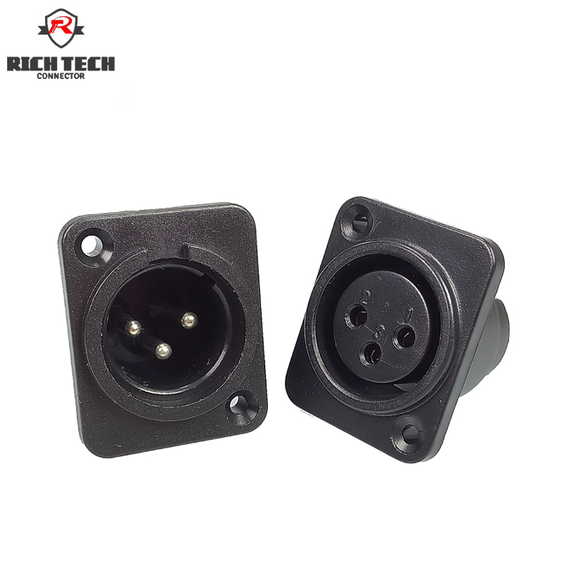1set XLR Plug&Socket 3Pin XLR Male Plug&Female Socket Panel Mount Chassis 3Pins Square Shape XLR Connector 1set male plug
