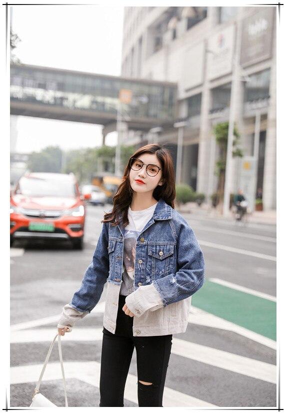 Acquista FTLZZ 2019 Autunno Vintage Giacca Di Jeans Donna Coreana Slim Buco Rotto Patchwork Jeans Cappotti Giacca Casual Femminile A $33.62 Dal Bida