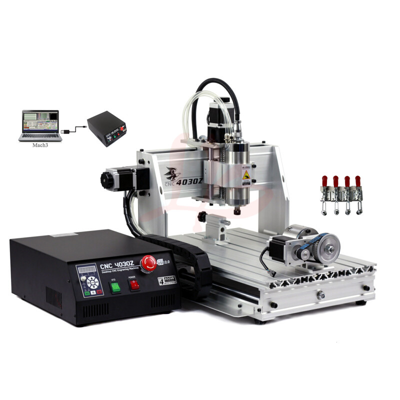 Free tax to Russia CNC milling machine 3040 wood router small lathe with rotary axis 4 axis cnc router 3040z s 800w cnc spindle cnc milling machine with dsp0501 controller free ship to russia no tax