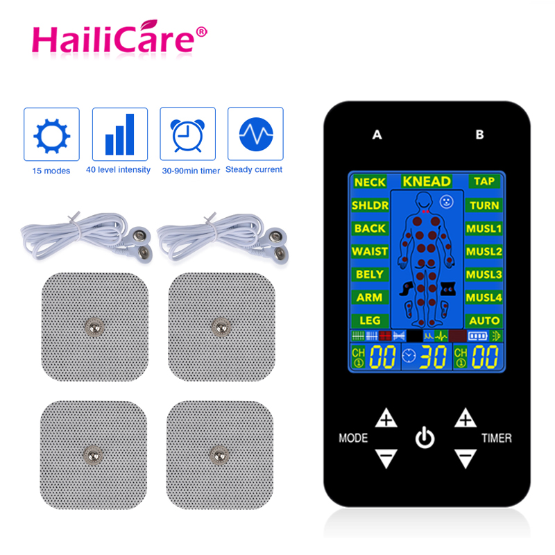 EMS Tens Acupuncture Body Massager Digital Therapy Machine With 4 Electrode Pads For Back Neck Foot Leg Pain Relief Health CareEMS Tens Acupuncture Body Massager Digital Therapy Machine With 4 Electrode Pads For Back Neck Foot Leg Pain Relief Health Care