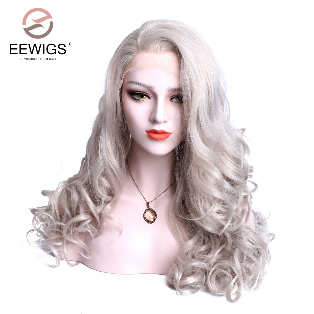 Peruca sintética Do Laço Frontal Onda Natural Cor Cinza Branco Gratuito Parting Glueless Cabelo da Fibra Para Drag Queen