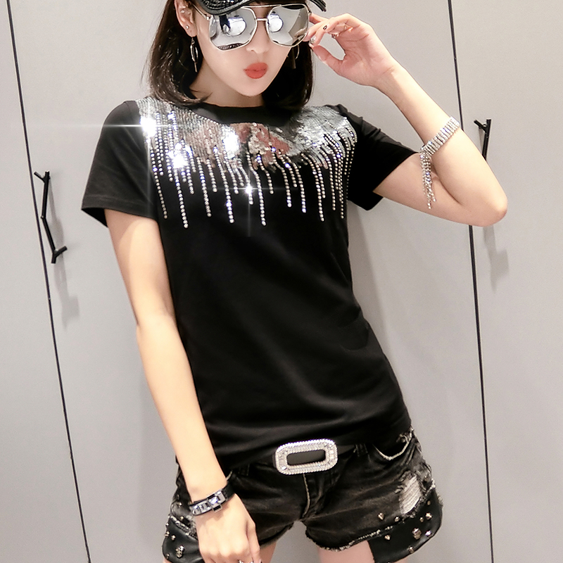 Korean Sequins Diamonds O-Neck Tshirt 2019 Summer Office Lady Cotton Casual Top Clothes Shirt Camiseta Mujer Black White T95108L