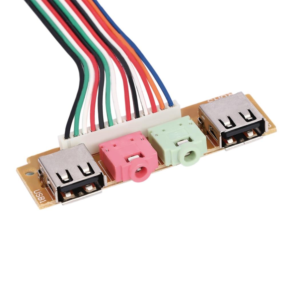 2 Ports USB 2.0 PC Computer Case Front Panel Dual USB  Audio Jacks Port Desktop PC USB Audio Port Extension  Durable Wire