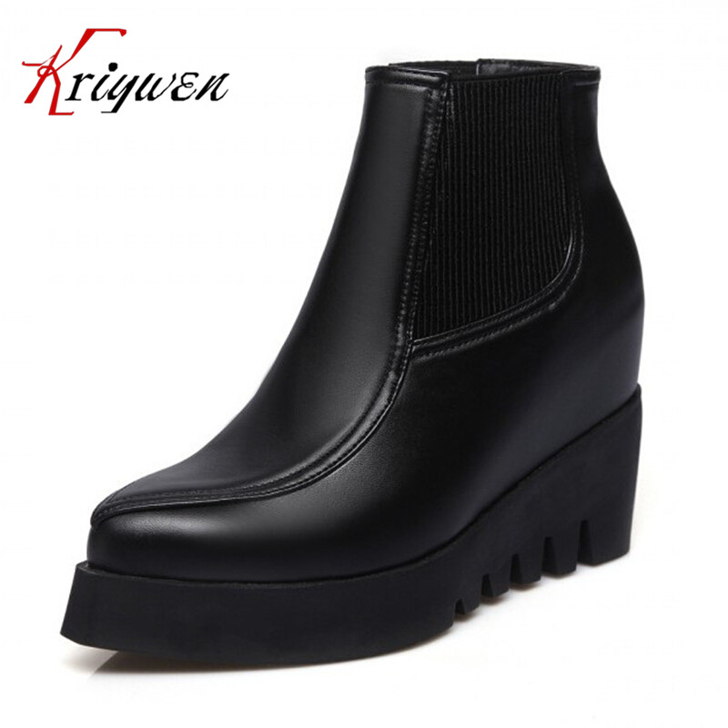 ФОТО Autumn Winter Women soft Leather Wedge Boots Shoes wholesale Creepers Platform Shoes High Heel motorcycle casual  Ankle Boots