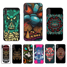 IMIDO Ghost face totem Design black silicone fitted phone case For iPhone 7 7plus 8 8plus 6 6S 6plus X XS XR XSmax 5 5s SE shell