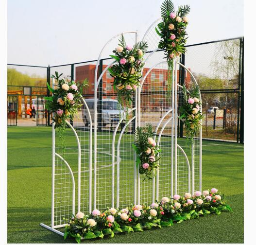 New wedding stage background grid screen door welcome area layout 2019 new iron props