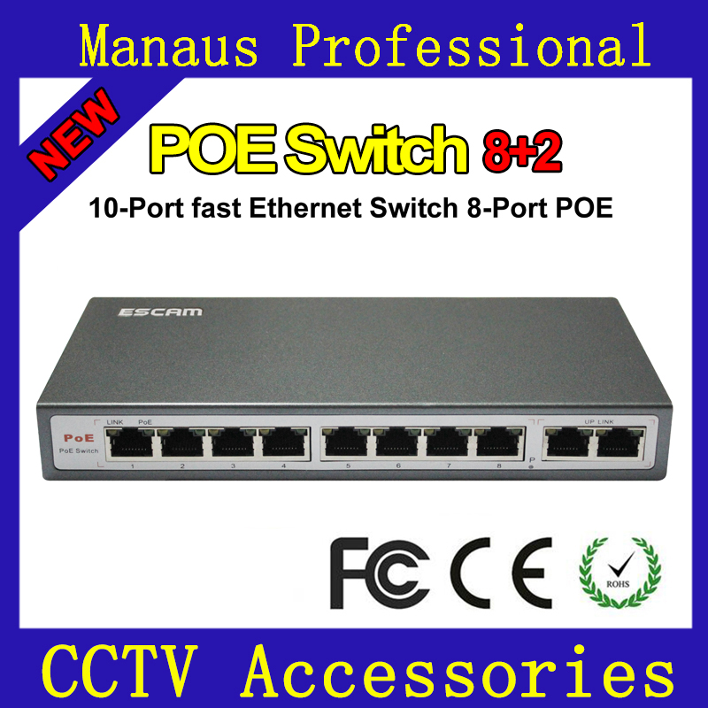 New 10-Port Fast Intelligent Ethernet Switch Network 8-Port POE 10/100 Mbps IEEE802.3af/at DC48V POE Switch for IP Cameras ESCAM
