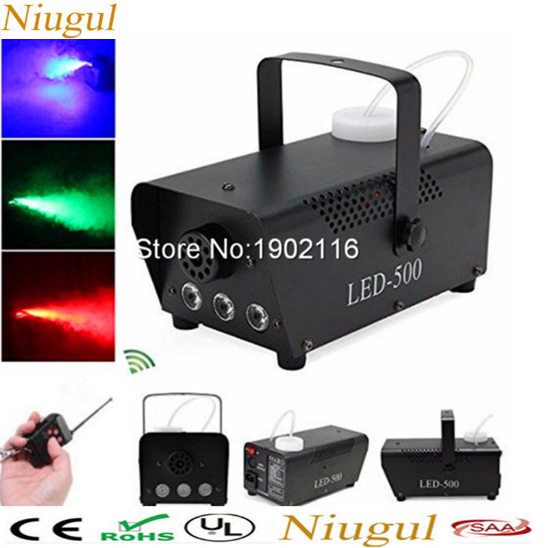 Remote control 500W Fog machine with RGB LED light/smoke machine full color smoke generator professional LED stage party Effect 3500w ground low fog water dry ice smoke machine for stage wedding party