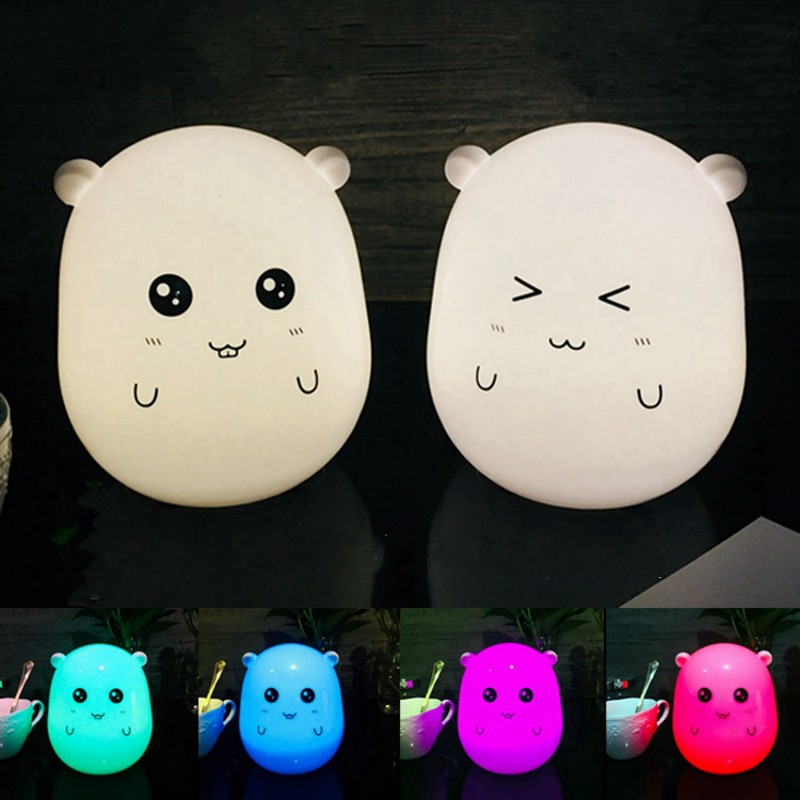 Novelty USB Charging LED Colorful Animals Night Lights Baby Children Cartoon Toys Holiday Gifts Bedroom Decorating Table Lamp