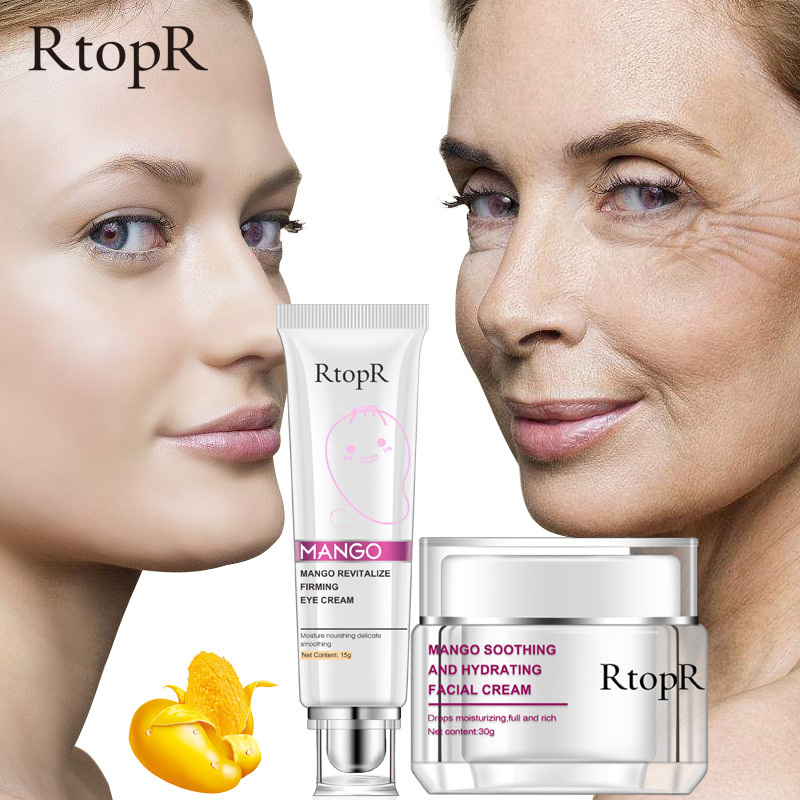Mango Eye Cream+Face Cream Skin Care Anti-Wrinkle Firm Skin Whitening Moisturizing Improve Drying Dark Circles Face Care Set 4pcs set skin care set shrink pores moisturizing anti aging anti wrinkle eye cream lotion toner cleanser whitening face cream