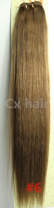 #6 light brown 161820222426283032 silk soft remy brazilian human hair extensions human hair weft weaving 100g/pcs