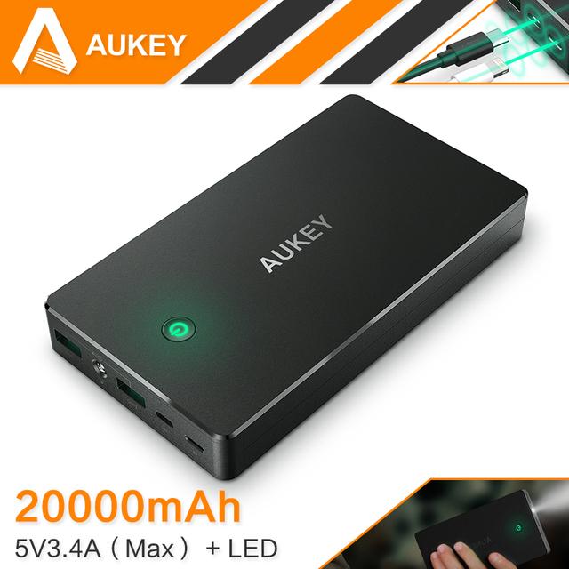 Aukey 20000 mah carregamento rápido banco de potência com duplo usb portátil bateria externa para o iphone 7 plus telefone inteligente samsung lg