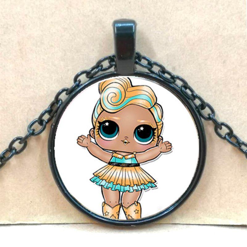 Мультяшное ожерелье с изображением куклы милое детское блестящее платье принцессы куклы стеклянные ожерелья аниме для детей подарок на день рождения - Окраска металла: black 2