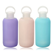 New Fashion Colorful 500mL Glass Water Bottle Glass Beautiful Gift Women Water Bottles with Protective Silicon Case Tour