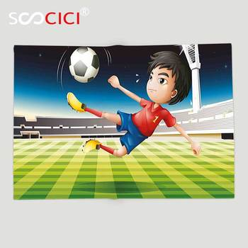Custom Soft Fleece Throw Blanket Kids Young Boy Playing Football in the Stadium Athlete Sports Soccer Championship Graphic