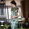 Новое Прибытие Мода Китайский Стиль Платья женщин Атласная Длинные Cheongsam элегантный Тонкий Qipao Одежда Размер S, M, L, XL, XXL 275922