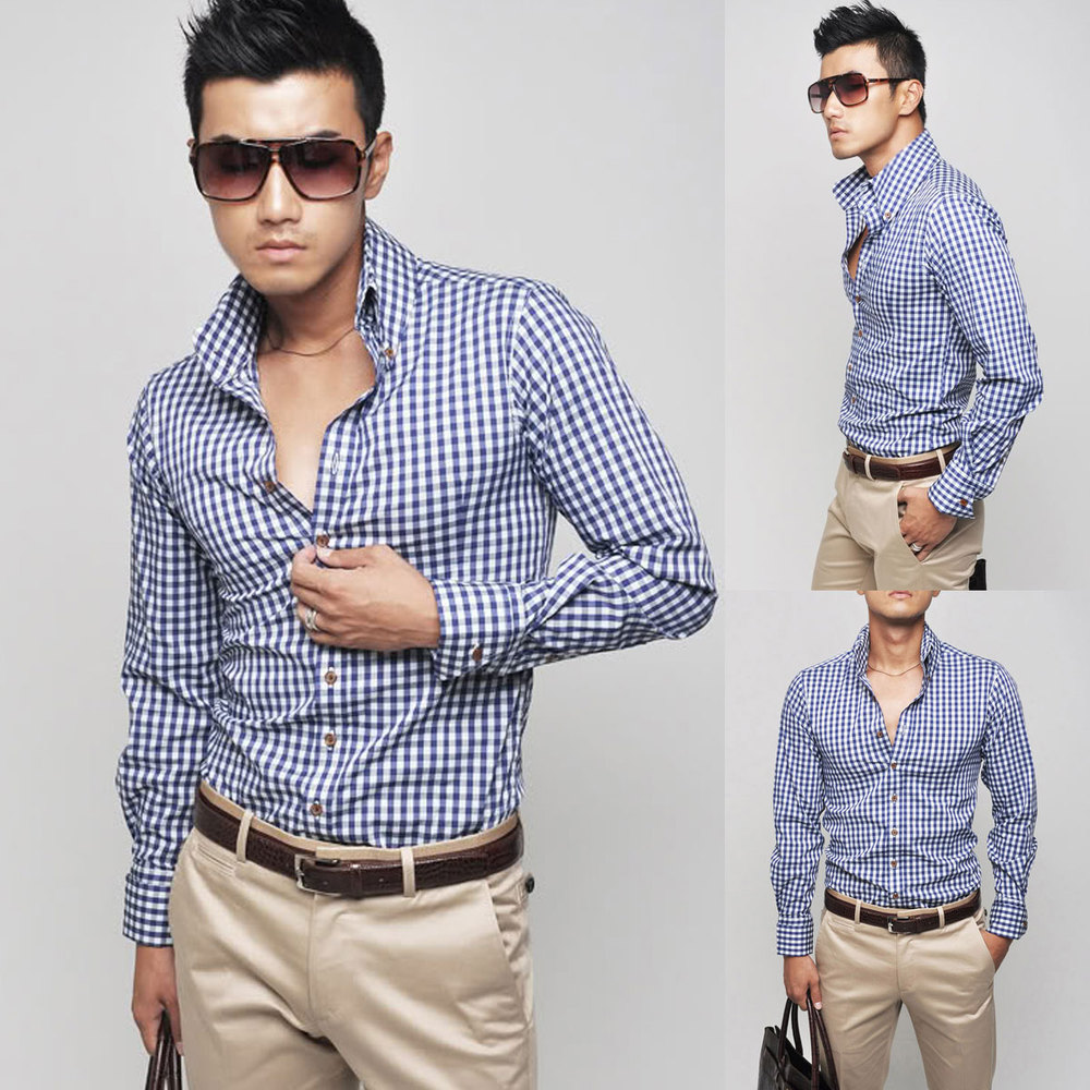 New fashion Mens Luxury Casual Slim Stylish Dress Shirts 4Colours 7Size UST6332