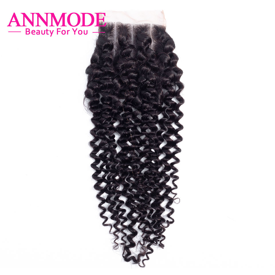 Annmode  Brazilian Kinky Curly Closure  Swiss Lace Closure Free Shipping Non Remy 3/Middle/Free Part 100% Human Hair Closure