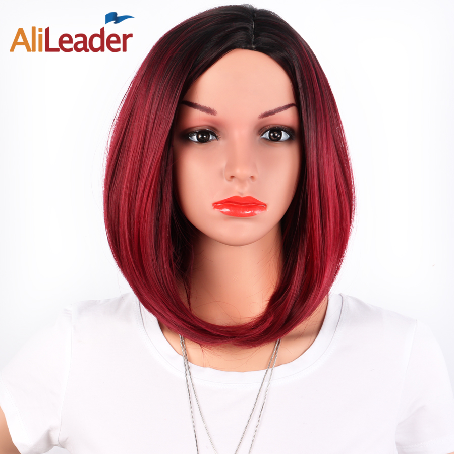 AliLeader Product Short Bob Ombre Wig Without Bangs, Two Tone Black Burgundy Wig, Heat Resistant Synthetic Wigs For Black Women