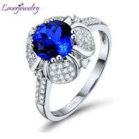 Latest Engagement Round 7x7mm Natural Diamond Tanzanite Ring 18kt White Gold WU257