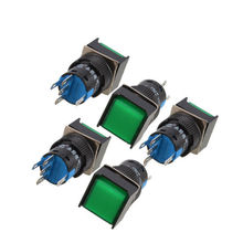 цена на YOCOMYLY 5Pcs Green Square Cap DC12V Light SPDT 5 Terminals Momentary Push Button Switch