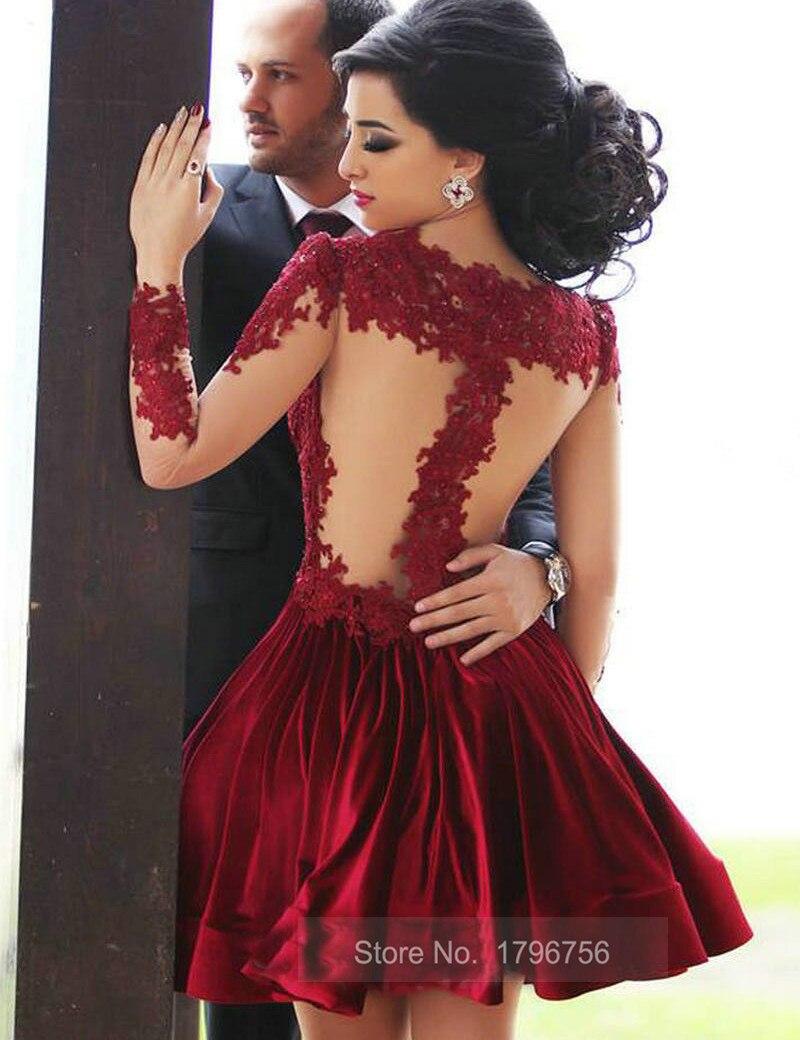 Burgundy Long Sleeve Short Prom Dress