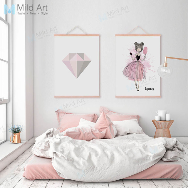 Romantic Pink Diamond Ballet Dance Girl Wooden Framed Posters Nordic Bedroom  Wall Art Picture Home Decor