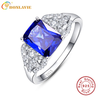 JQUEEN 3 Carats Blue Tanzanite Stone 925 Sterling Silver Ring Emerald Cut Wedding Party Trendy Jewelry