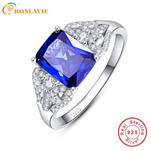 Купить с кэшбэком JQUEEN 3 Carats Blue Tanzanite Stone 925 Sterling Silver Ring Emerald Cut Wedding Party Trendy Jewelry Accessories With Gift box