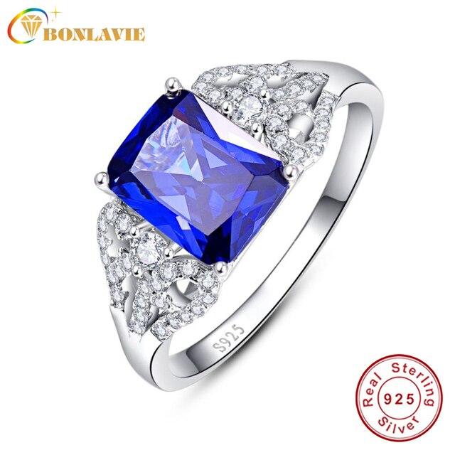 3 Carats Blue Tanzanite Engagement Rings Emerald Cut 925 Sterling Silver Sapphir