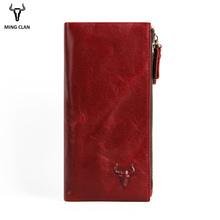 Wallet Women Vintage Leather Long Clutch With Double Zipper Pockets For Phone&Coins