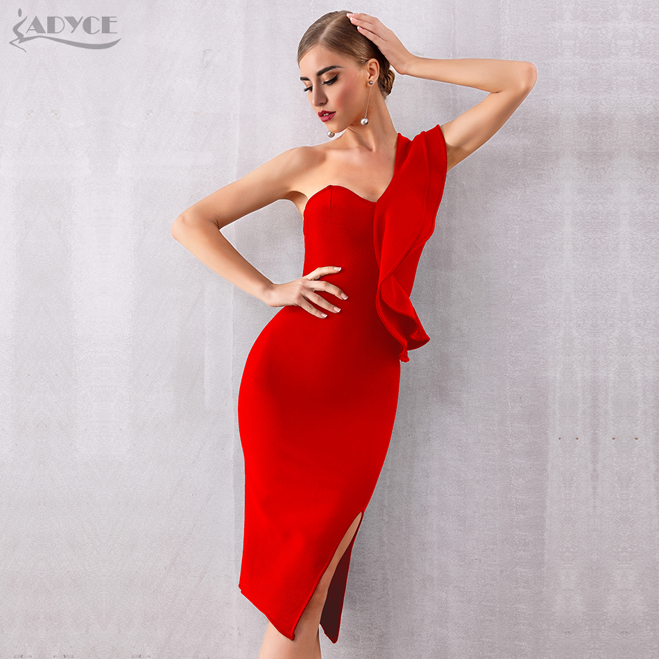 Image 5 - ADYCE 2019 New Summer Women Bandage Dress Sexy One Shoulder Ruffles Bodycon Club Dresses Vestidos Celebrity Evening Party Dress-in Dresses from Women's Clothing
