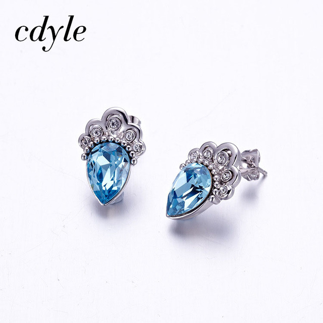 Cdyle Crystals from Swarovski CROWN Shape Luxury Jewelry Stud Earrings Blue  Crystals Women Earring Fashion Elegant Bijous 9ef8c6869ea5