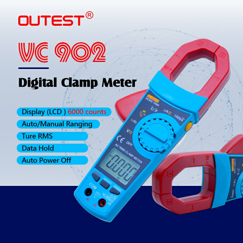 OUTEST VC902 Auto/Manual Digital AC/DC Clamp Meter Volt Freq Cap Resistance Tester Multimeter Digital Multimeter High Quality цена 2017