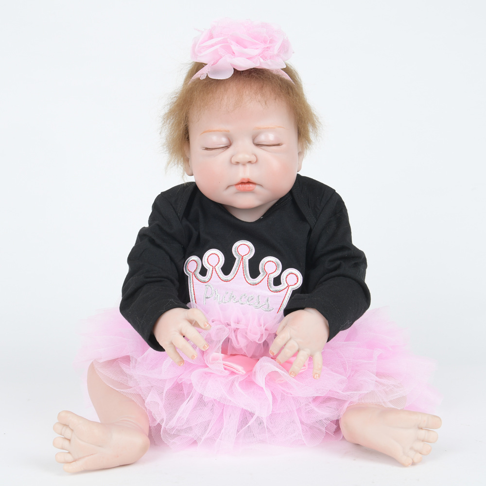 22 Inch Soft Full Silicone Vinyl Reborn Baby Doll Lovely Sleeping Girl Dolls for Children Kids Toy Birthday Xmas New Year Gift 22 inch soft full silicone vinyl reborn baby doll lovely sleeping girl dolls for children kids toy birthday xmas new year gift
