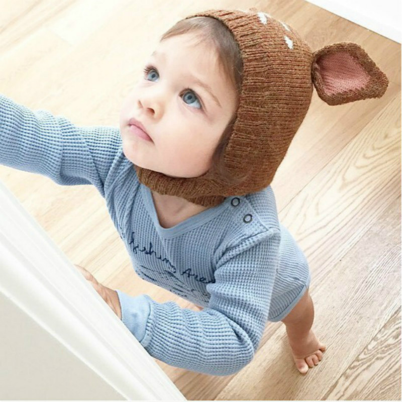 2ddc306d481 Baby Fitted Hat Cotton Cute Deer Ear Adjustable Cap Unisex Knitted animal Hat  Toddler Bonnet Touca De Inverno Sombrero Mz002-in Hats   Caps from Mother  ...