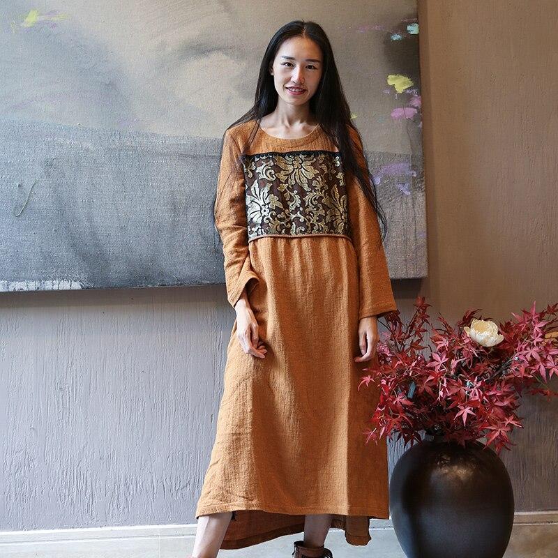 57587fe24dc O L173y021 Coton Robe D automne Plissée cou Longues Robes Contour Manches  Vintage À Femmes Noir camel Dames ...