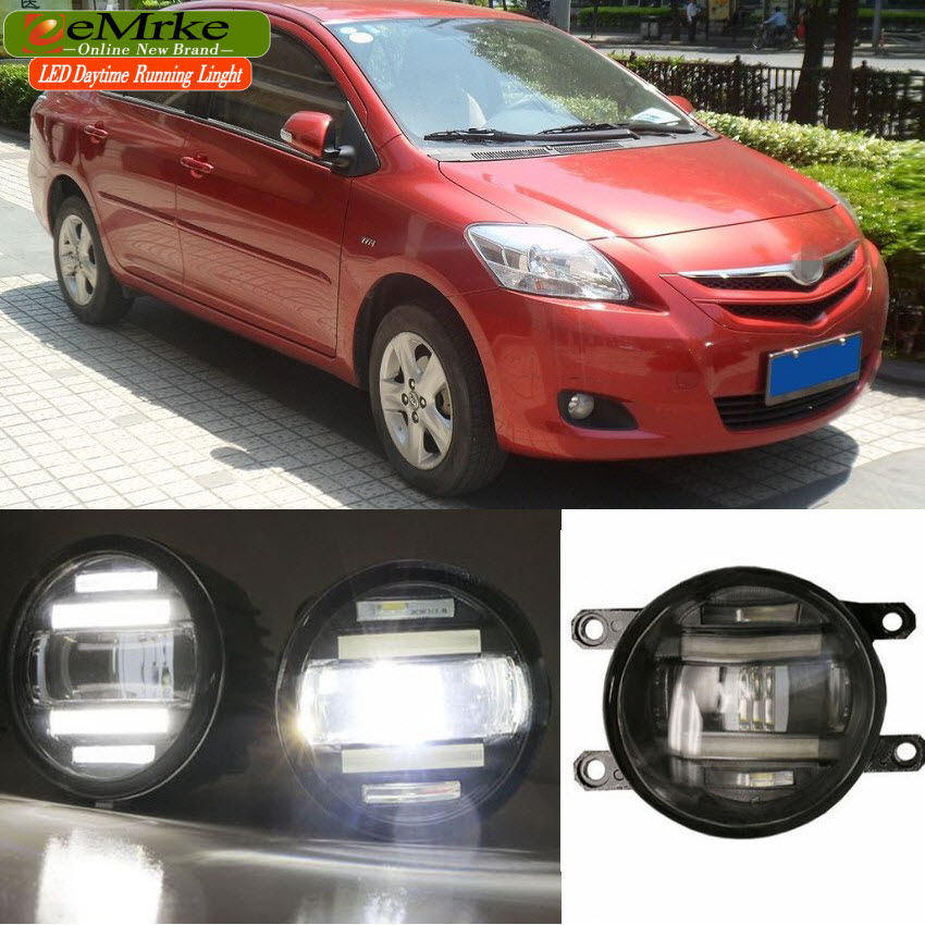 eeMrke Xenon White High Power 2in1 LED DRL Projector Fog Lamp With Lens For Toyota Vios XP90 2007-2013 XP150