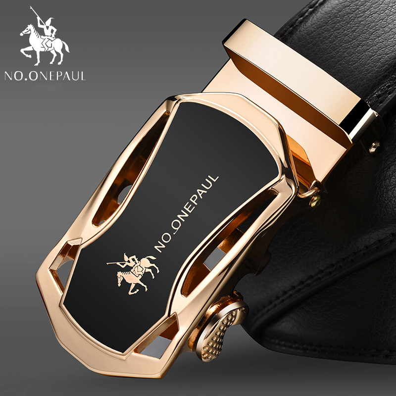 NO.ONEPAUL Men's Belt Genuine Leather Business Strap Male Belts For Vintage Automatic Buckle For Jeans Men Fashion High Quality