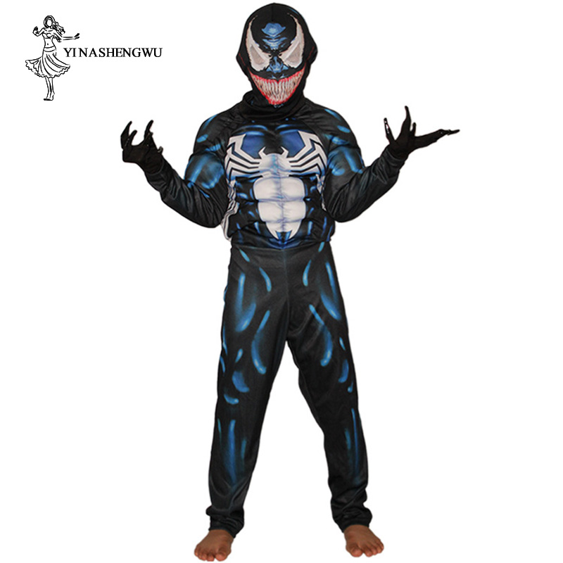 Venom Costume Cosplay Venom Movie Character Cosplay Superhero Halloween Carnival Fancy Costume Children Halloween Costumes